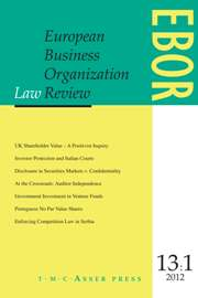 European Business Organization Law Review (EBOR) Volume 13 - Issue 1 -
