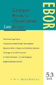 European Business Organization Law Review (EBOR) Volume 5 - Issue 3 -