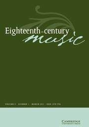 Eighteenth-Century Music Volume 8 - Issue 1 -