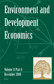 Environment and Development Economics Volume 13 - Issue 6 -  SUSTAINABLE DEVELOPMENT