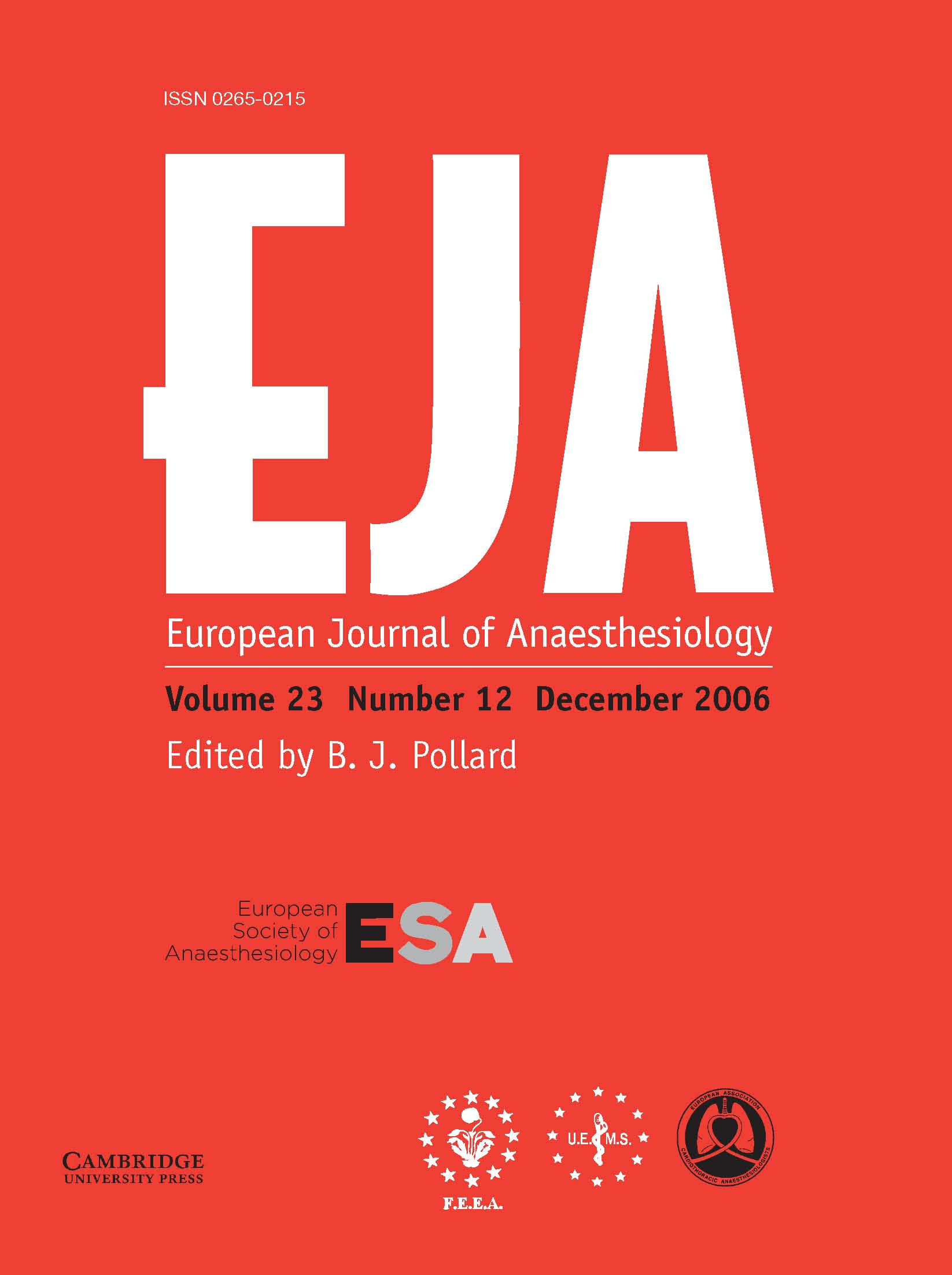 European Journal of Anaesthesiology Volume 23 - Issue 12 -
