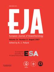 European Journal of Anaesthesiology Volume 24 - Issue 8 -