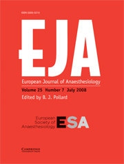 European Journal of Anaesthesiology Volume 25 - Issue 7 -