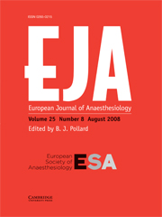 European Journal of Anaesthesiology Volume 25 - Issue 8 -