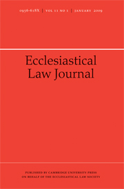 Ecclesiastical Law Journal Volume 11 - Issue 1 -