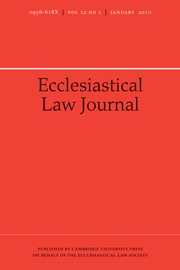 Ecclesiastical Law Journal Volume 12 - Issue 1 -