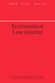 Ecclesiastical Law Journal Volume 19 - Issue 1 -