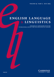 English Language & Linguistics Volume 19 - Issue 2 -  Sense of place in the history of English
