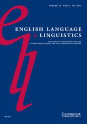 English Language & Linguistics Volume 21 - Special Issue2 -  Cognitive approaches to the history of English