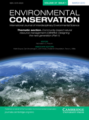 Environmental Conservation Volume 37 - Issue 1 -  Thematic section. Community-based natural resource management (CBNRM): designing the next generation (Part 1)