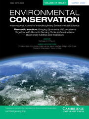 Environmental Conservation Volume 47 - Issue 1 -  Thematic Section: Bringing Species and Ecosystems Together with Remote Sensing Tools to Develop New Biodiversity Metrics and Indicators