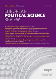 European Political Science Review Volume 11 - Issue 1 -
