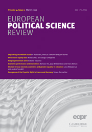 European Political Science Review Volume 4 - Issue 1 -