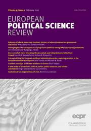 European Political Science Review Volume 9 - Issue 1 -