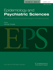 Epidemiology and Psychiatric Sciences Volume 20 - Issue 1 -
