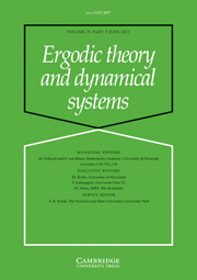 Ergodic Theory and Dynamical Systems Volume 31 - Issue 3 -