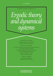 Ergodic Theory and Dynamical Systems Volume 39 - Issue 3 -