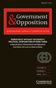 Government and Opposition Volume 52 - Special Issue2 -  Democracy without Solidarity: Political Dysfunction in Hard Times