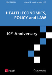 Health Economics, Policy and Law Volume 10 - Issue 4 -  SPECIAL ISSUE: 10th Anniversary Issue