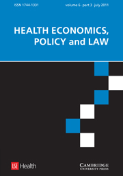 Health Economics, Policy and Law Volume 6 - Issue 3 -