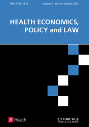 Health Economics, Policy and Law Volume 7 - Issue 4 -