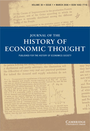 Journal of the History of Economic Thought Volume 30 - Issue 1 -