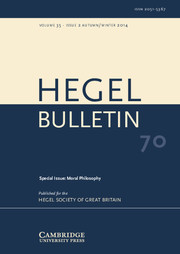 Hegel Bulletin Volume 35 - Issue 2 -  Moral Philosophy