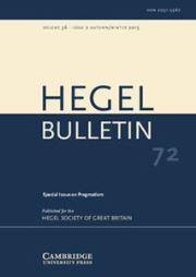 Hegel Bulletin Volume 36 - Issue 2 -  Pragmatism