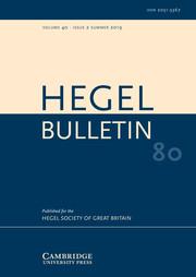 Hegel Bulletin Volume 40 - Issue 2 -