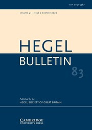 Hegel Bulletin Volume 41 - Issue 2 -