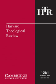 Harvard Theological Review Volume 105 - Issue 1 -