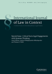 International  Journal of Law in Context Volume 11 - Special Issue4 -  Critical Socio-legal Engagements with Systems Thinking