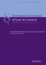 International  Journal of Law in Context Volume 9 - Issue 1 -  Mental capacity and value neutrality