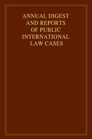 Annual Digest and Reports of Public International Law Cases