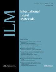 International Legal Materials Volume 57 - Issue 1 -