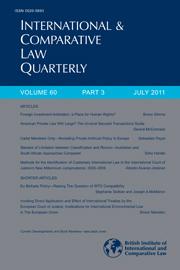 International & Comparative Law Quarterly Volume 60 - Issue 3 -