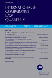 International & Comparative Law Quarterly Volume 66 - Issue 1 -