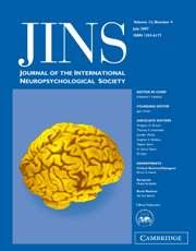 Journal of the International Neuropsychological Society Volume 13 - Issue 4 -