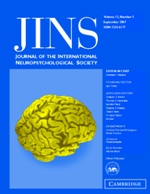 Journal of the International Neuropsychological Society Volume 13 - Issue 5 -