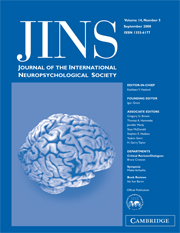 Journal of the International Neuropsychological Society Volume 14 - Issue 5 -