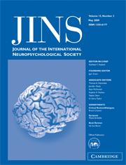 Journal of the International Neuropsychological Society Volume 15 - Issue 3 -