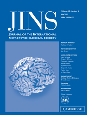 Journal of the International Neuropsychological Society Volume 15 - Issue 4 -