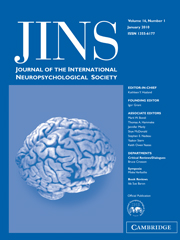 Journal of the International Neuropsychological Society Volume 16 - Issue 1 -