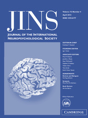 Journal of the International Neuropsychological Society Volume 19 - Issue 4 -