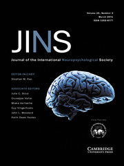 Journal of the International Neuropsychological Society Volume 20 - Issue 3 -