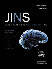 Journal of the International Neuropsychological Society Volume 21 - Issue 8 -