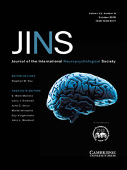 Journal of the International Neuropsychological Society Volume 22 - Issue 9 -