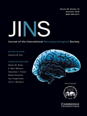 Journal of the International Neuropsychological Society Volume 25 - Issue 10 -