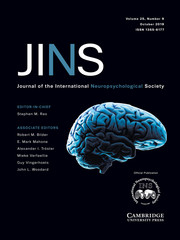 Journal of the International Neuropsychological Society Volume 25 - Issue 9 -