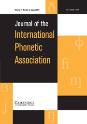 Journal of the International Phonetic Association Volume 41 - Issue 2 -